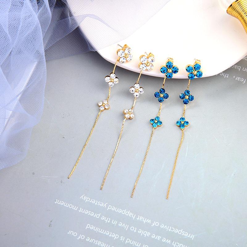 Flower fashion diamondstudded clover tassel earrings NHQD283737