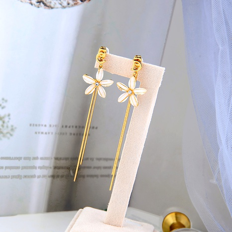 Flower long tassel asymmetric letter earrings NHQD283757's discount tags