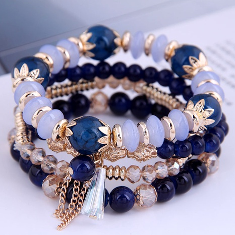 fashion simple crystal beads multi-layer bracelet NHSC284791's discount tags