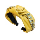 knotted twist pu leather thick chain headband NHUX283793