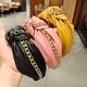 PU leather knotted wide-side chain headband NHUX283814
