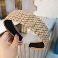 NHUX1270666-Khaki-leather-woven-flat-headband