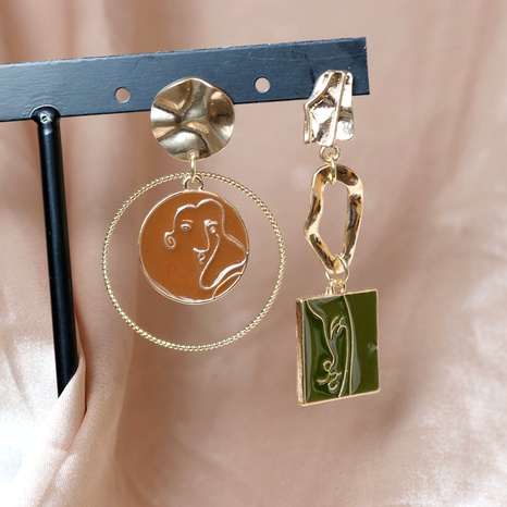 Asymmetric round square simple portrait earrings  NHOM283841's discount tags