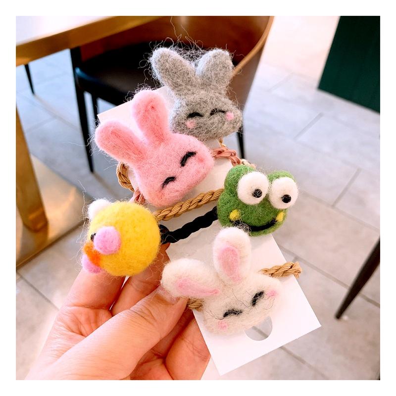 new cartoon cute rabbit wool felt ball hair ring  NHHD283876