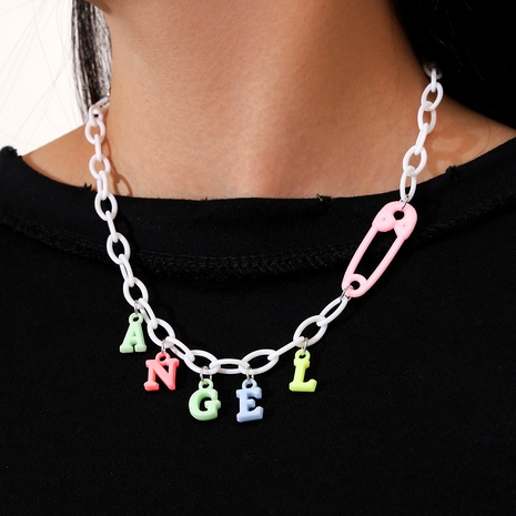 Cute Rainbow Color Resin Pin Angel Letter Tassel Necklace  NHPV283948's discount tags