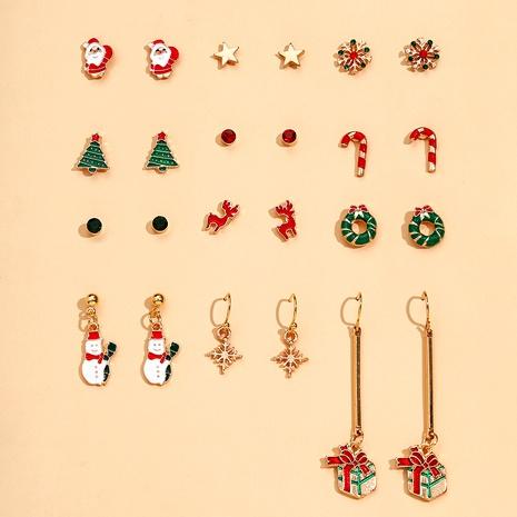 Copo de nieve Santa Wreath Elk Christmas Gift Set de pendientes de 12 piezas NHPV283956's discount tags