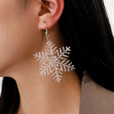Christmas Series Transparent Acrylic Sequin Snowflake Pendant Earrings NHPV283964's discount tags