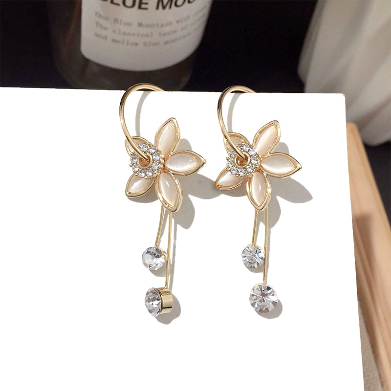fashion opal flower silver needle earrings NHFT283981