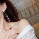 voller Diamant Anhnger lange Quaste Silber Nadelohrringe NHFT283992