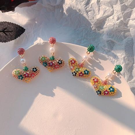 Boucles d'oreilles en argent avec pendentif coeur couleur bonbon diamant NHFT283995's discount tags