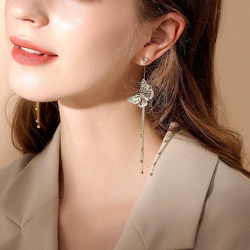 rhinestone long butterfly tassel silver needle earrings NHFT283999
