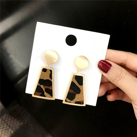 s925 silver needle leopard print trapezoidal earrings  NHFT284006's discount tags