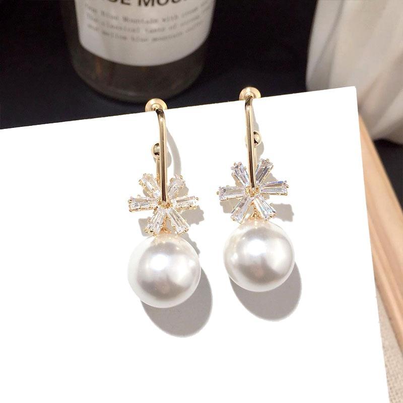 pearl crystal snowflake silver needle earrings NHFT284011