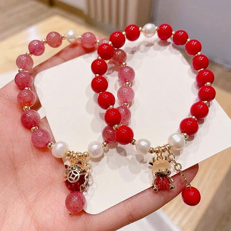 Bracelet pendentif veau chat porte-bonheur en cristal de fraise perle rouge NHHI284031's discount tags