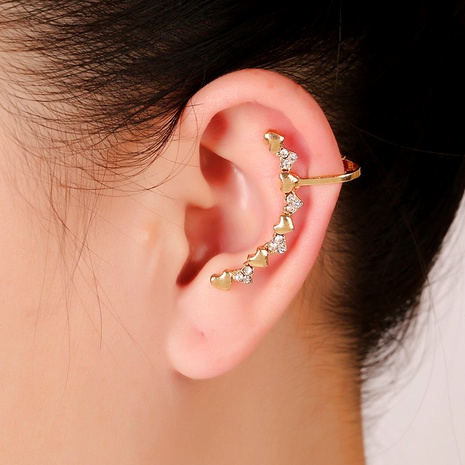fashion  heart-shaped crystal ear clips NHYE284039's discount tags