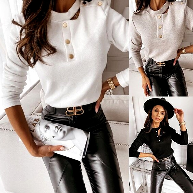 Women's autumn and winter models long-sleeved button decoration solid color base long-sleeved T-shirt NHWA284676