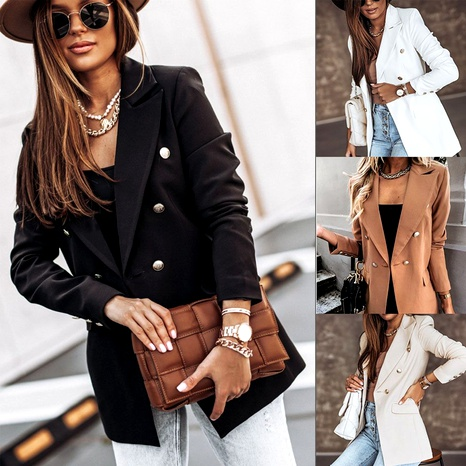 Autumn solid color long-sleeved double-breasted blazer small suit jacket NHWA284674's discount tags
