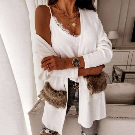 Fashionable temperament strap solid color wild windbreaker cardigan jacket NHWA284672's discount tags
