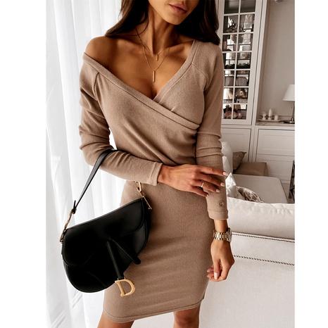 New V-neck sexy mocha slim slim long-sleeved dress NHWA284681's discount tags