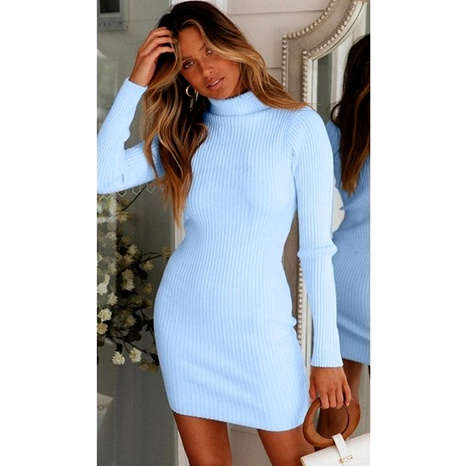 Autumn and winter women's fashion slim high-neck temperament package hip knitted dress NHWA284680's discount tags