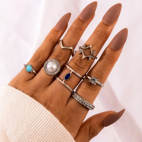 vintage bohemian full diamond 7-piece rings NHGY284789's discount tags