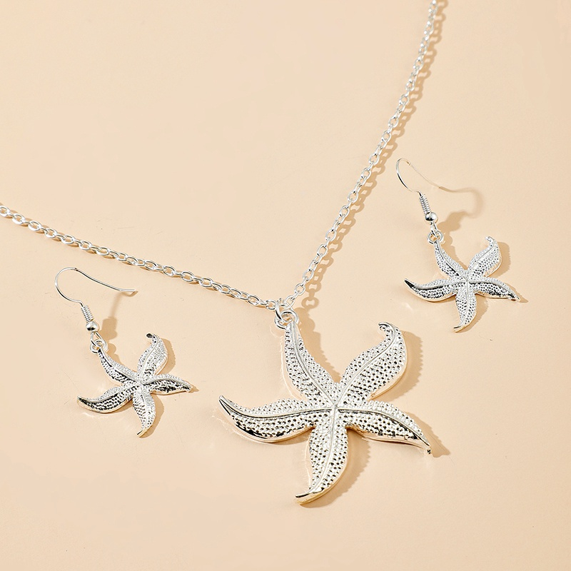 Retro Alloy Silver White Starfish Necklace Earrings 2-piece Set  NHGY284784