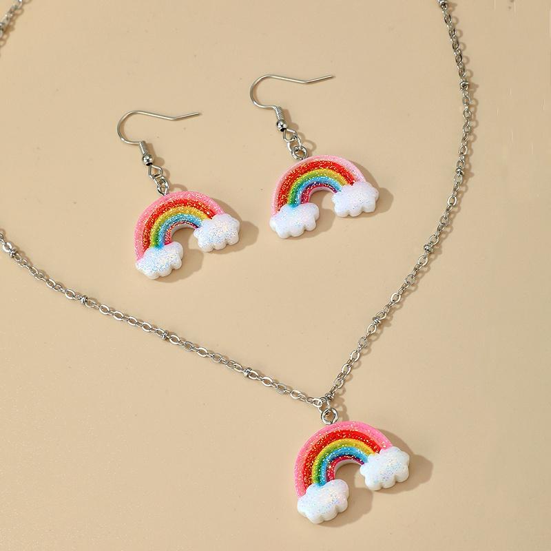 cute fashion rainbow necklace earrings set  NHGY284767