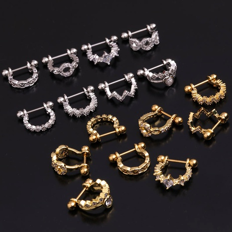 stainless steel fashion inlaid zircon U-shaped ear clip  NHEN283625's discount tags