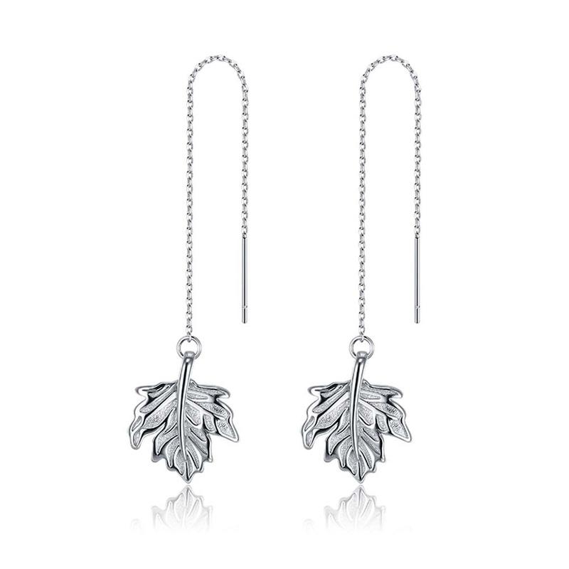S925 sterling silver maple leaf ear line NHKL284102