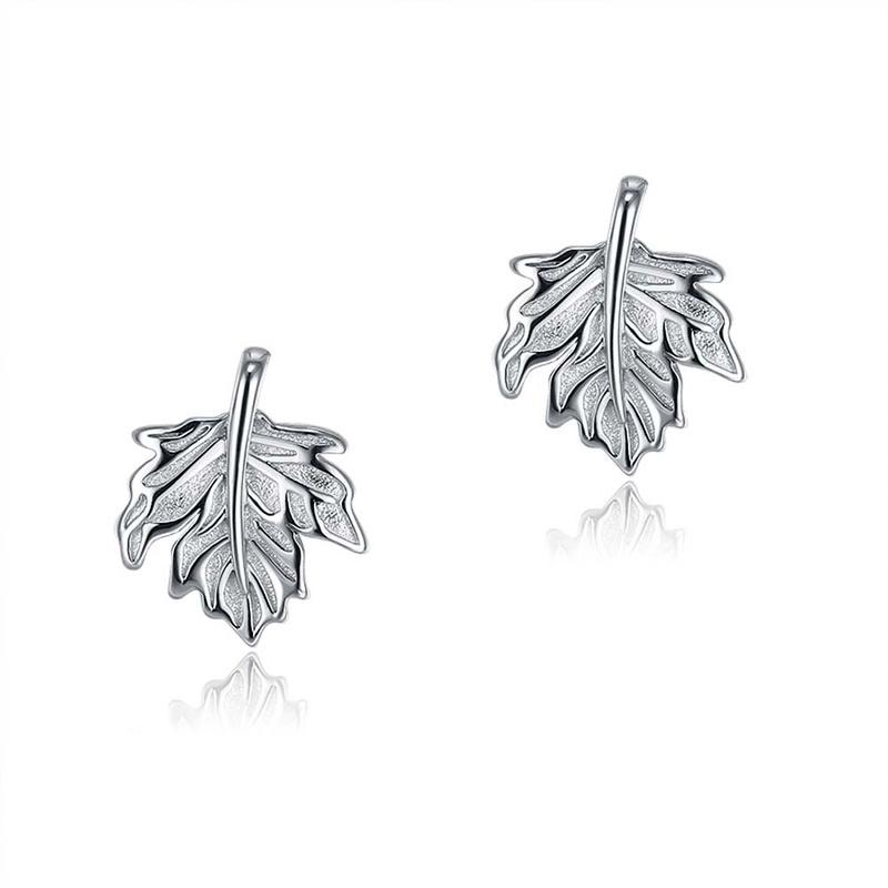 S925 Sterling Silver Fashion Maple Leaf Stud Earrings NHKL284103