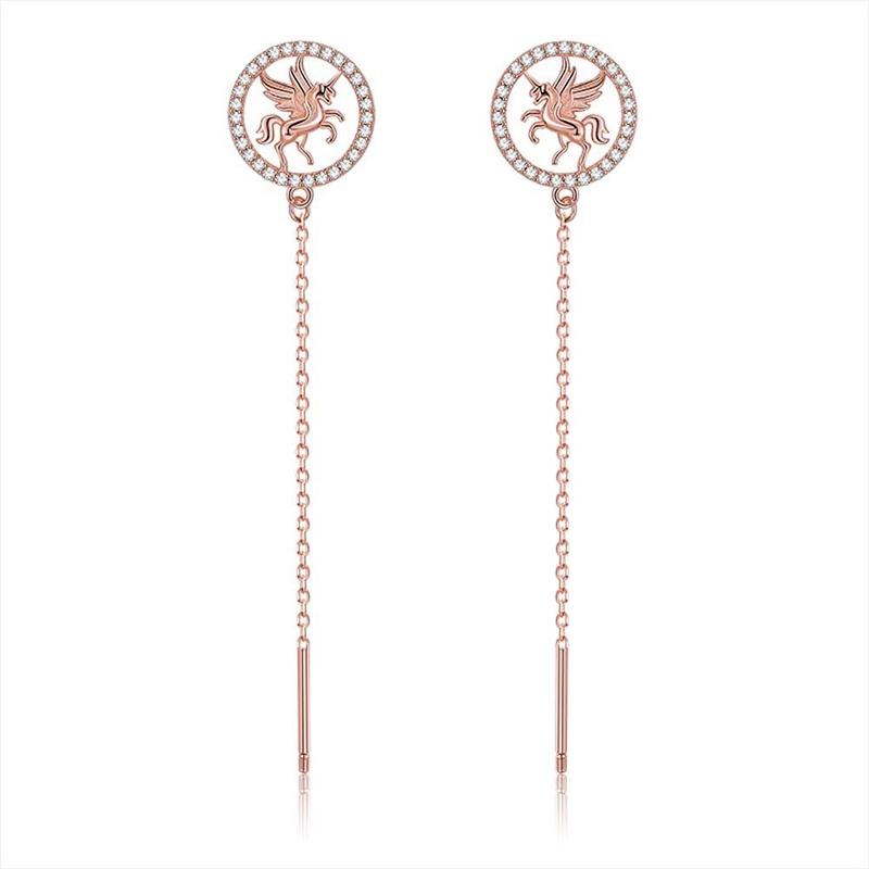 S925 sterling silver unicorn earrings NHKL284105