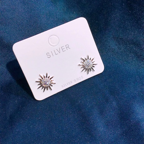 S925 silver inlaid sun flower earrings NHKL284109's discount tags