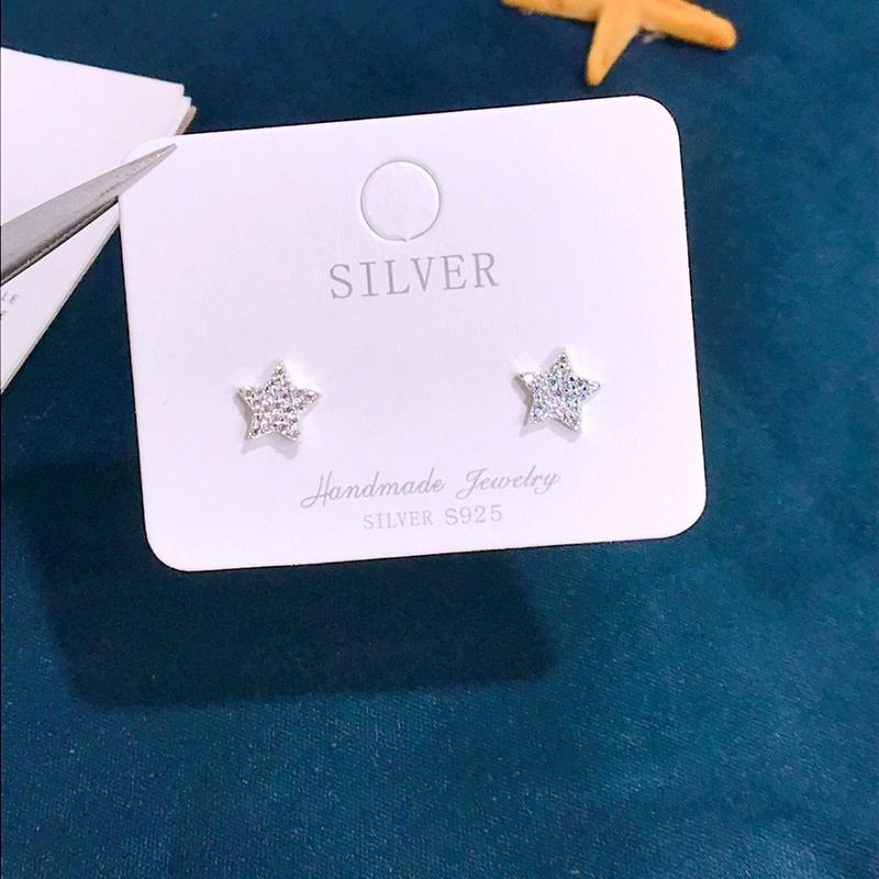 S925 silver five-pointed star diamond earrings NHKL284111