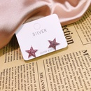 S925 silver sticky pink diamond fivepointed star earrings NHKL284118