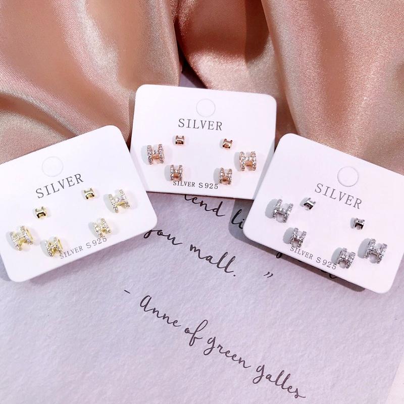 S925 silver size H threepiece stud earrings NHKL284124