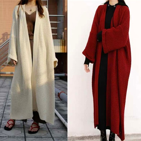 Autumn loose long knitted cardigan lazy wind over the knee plus size sweater coat NHJC284683's discount tags
