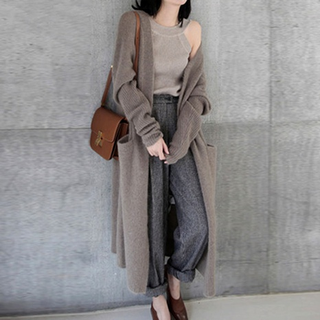 Long cardigan thick knitted cardigan casual lazy sweater coat NHJC284685's discount tags