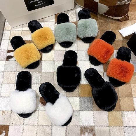 zapatillas de casa antideslizantes de fondo plano de lana de moda NHPE284203's discount tags