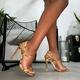 snake print buckle open-toe high-heeled sandals  NHCA284222