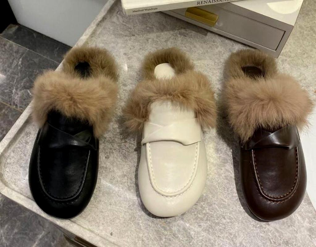 fashion square toe rabbit fur flat shoes NHCA284232
