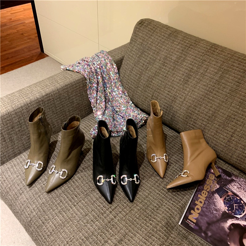 pointed rhinestone buckle stiletto boots  NHCA284253