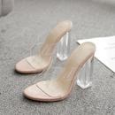 crystal thick high heel cross strap sandals  NHCA284277