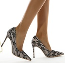 pointed toe shallow lace mesh stiletto shoes  NHSO284292