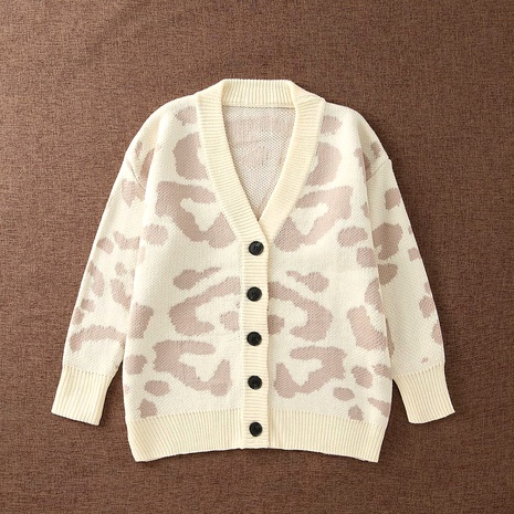 Casual Leopard Print Thick Knit Cardigan NHAM284302's discount tags