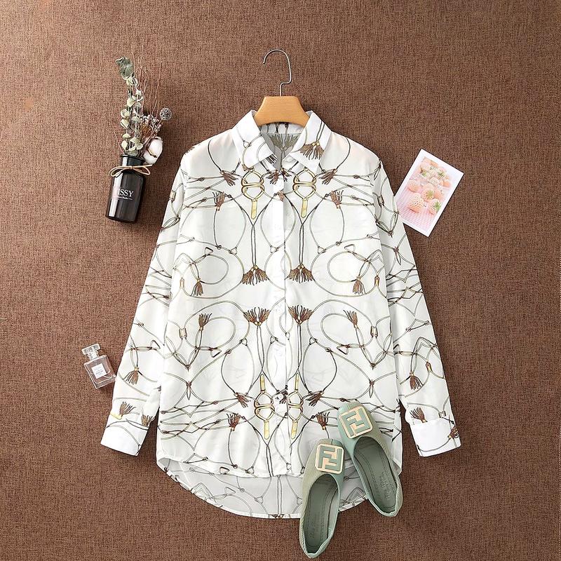 Print Lapel Long Sleeve Cardigan Shirt NHAM284313