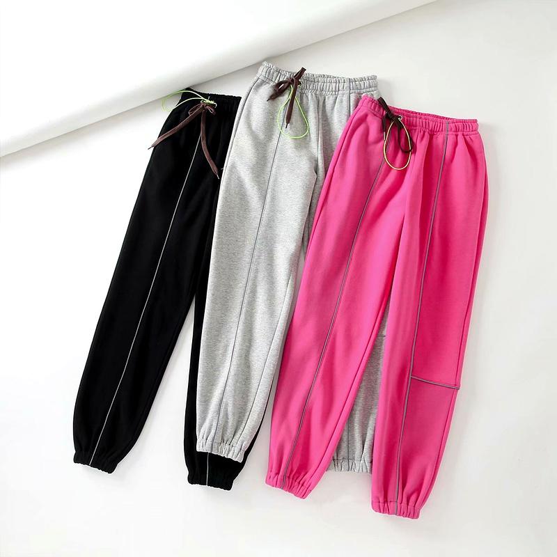 color drawstring elastic waist casual pants NHAM284321