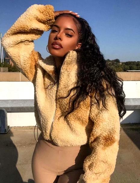 winter lamb hair teddy velvet tie-dye drawstring jacket  NHAM284323's discount tags