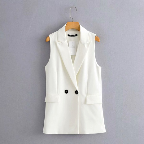 solid color fashion mid-length double-breast vest  NHAM284324's discount tags