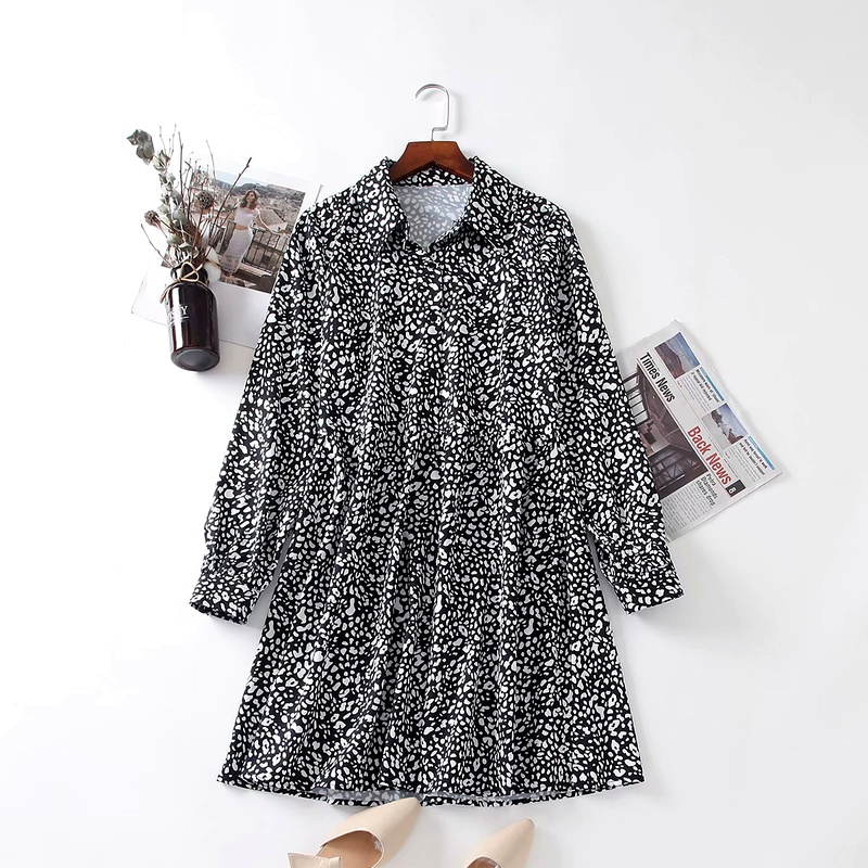 black leopard print dress  NHAM284356