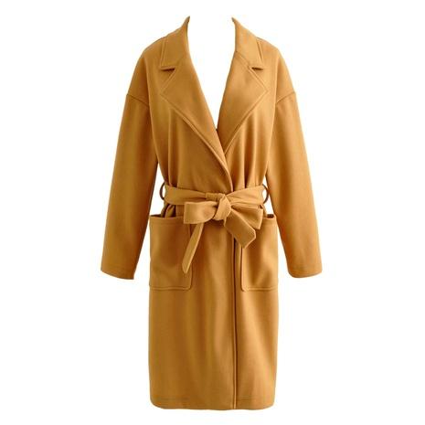 slim-fit  over the knee slim casual woolen coat NHAM284357's discount tags